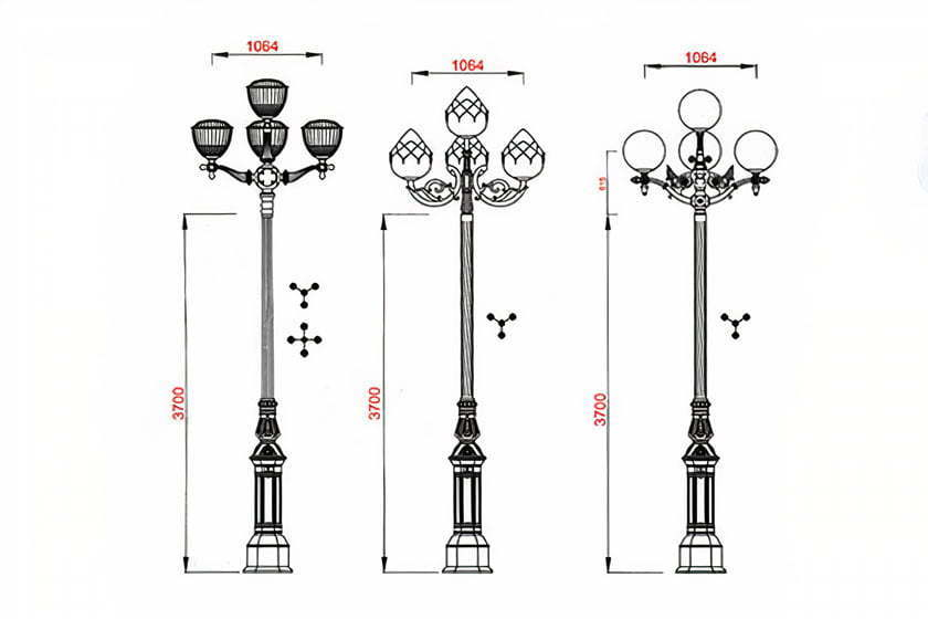 Outdoor 5 Globe Lamp post Height