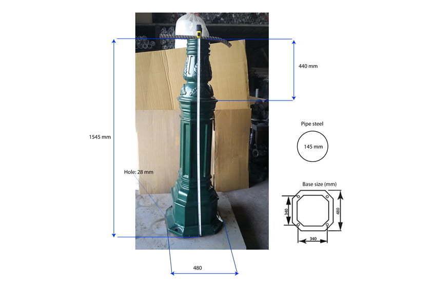 5 Light ball Decorative Street Light Pole Base Dimension