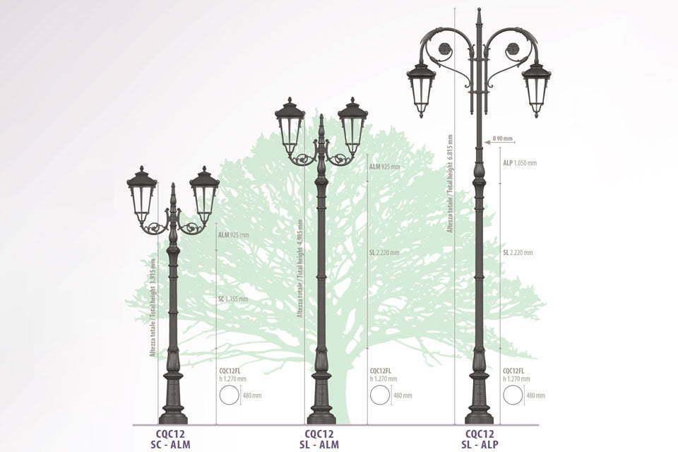 Antique Cast iron Garden Furniture Lamp post Dimension