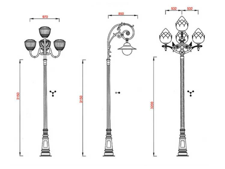 Green Cast Iron Base Street Furniture Lamp Post Dimension