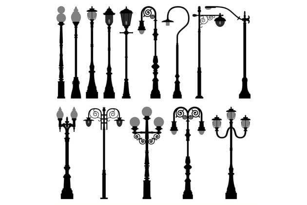 Lamp posts vary in styles and designs