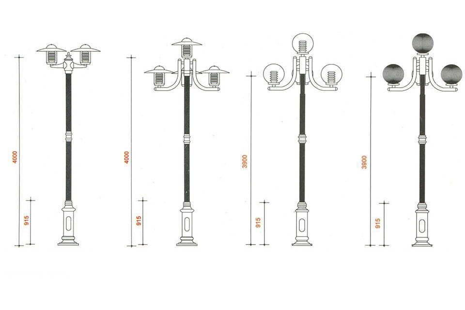 Modern Aluminum 4 Globe Street Lighting Dimension