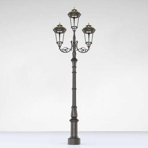 Antique Cast iron Garden Furniture Lamp post With Triple Lantern