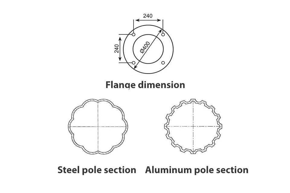 Modern Aluminum 4 Globe Street Lighting Pole cross section