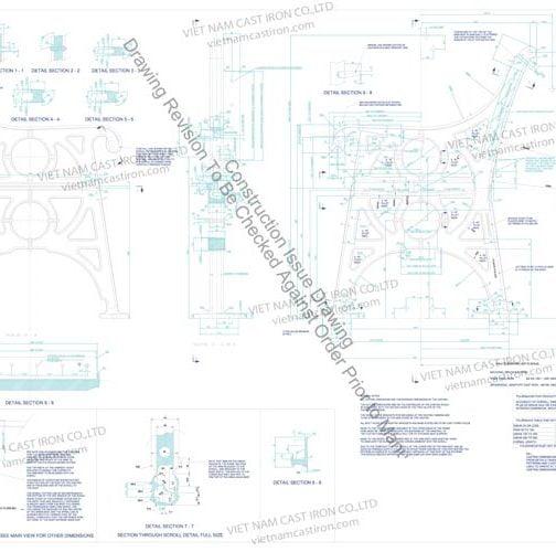 B08 Drawing Cast Iron Park Bench