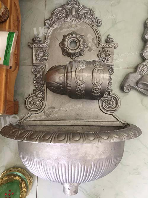 Cast Aluminum 19th Century Decorative Wall Mounted Hand Sink with Basin