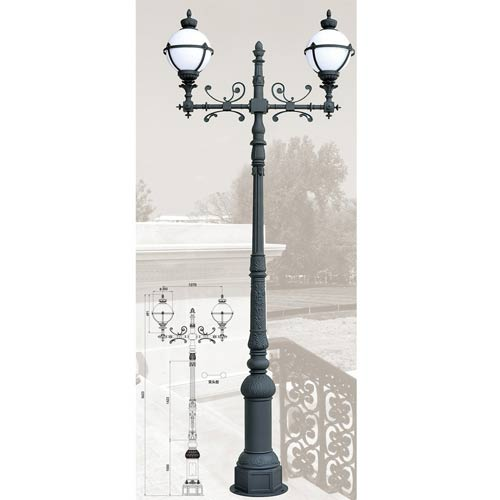 Antique Aluminum Alloy Outdoor Furniture Lamp Post