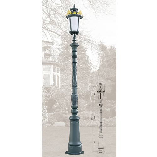 Victorian Single Lighting Aluminum Outdoor Furniture Ornamental Lamp Post