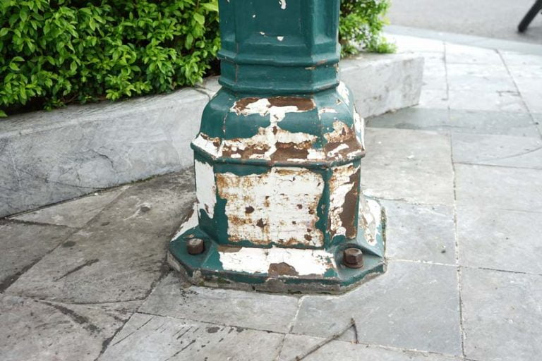 Lamp post defects: rust, corrosion, wrap, crack, rotting
