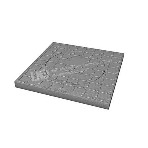 Square to round top solid ductile iron manhole cover B125