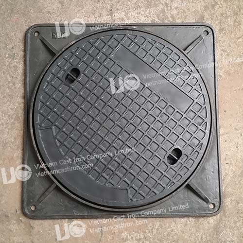 Cast iron Sewer Drain Cover Square Frame EN124 Class B125