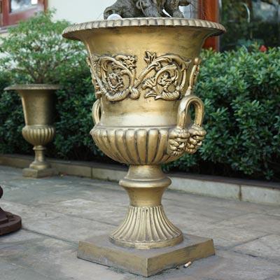 Vintage cast iron garden vase