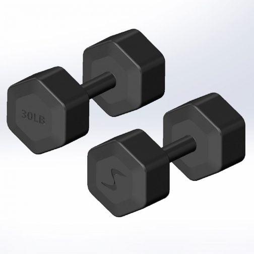 Cast iron Hexagonal fixed weight dumbbell 30lb