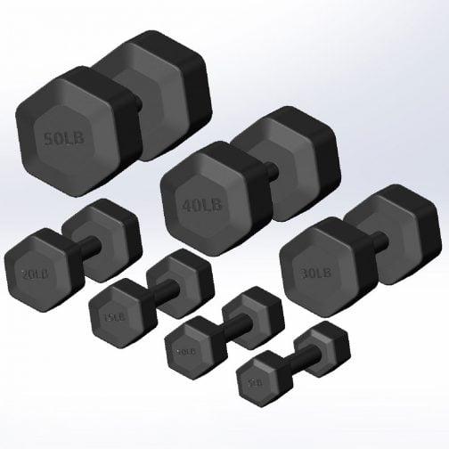 Cast iron Hexagonal fixed weight dumbbell 5-50lb