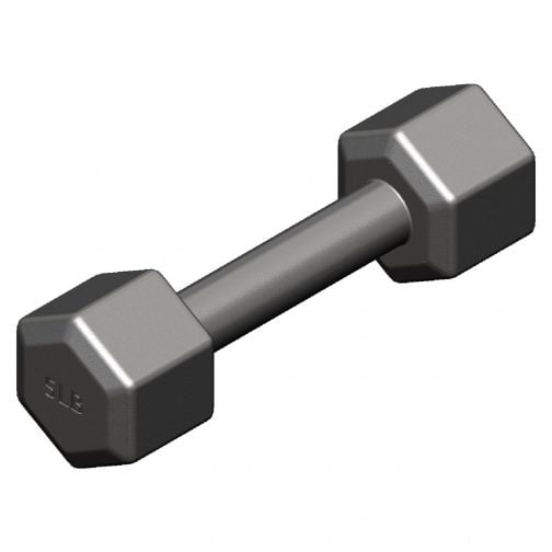 Cast iron Hexagonal fixed weight dumbbell 5lb