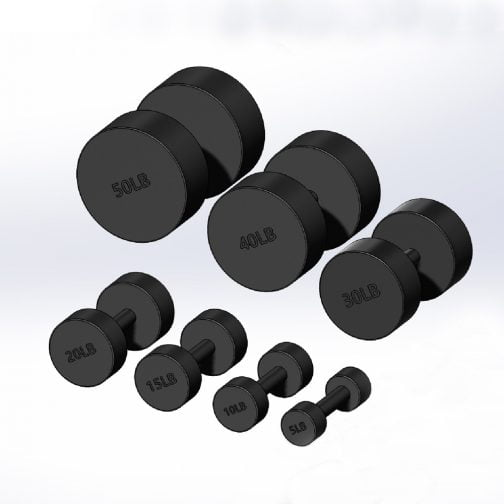Cast Iron Round Fixed Dumbbells 5-50 pounds