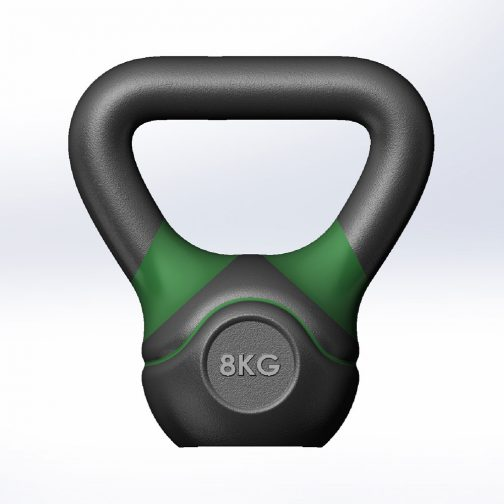 Cast iron kettlebell with straight handles 8kg