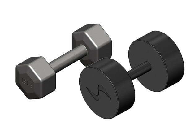 Round dumbbell vs hex dumbbell