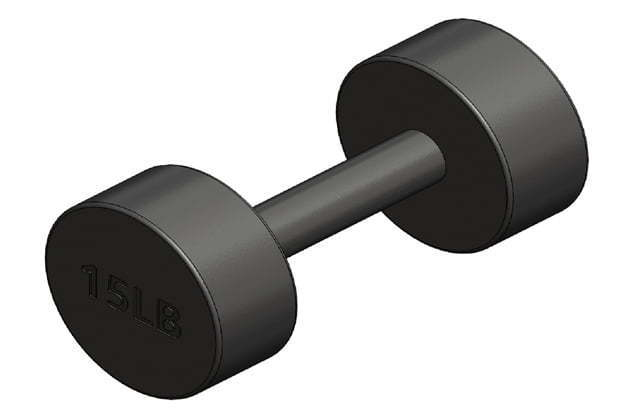 Round fixed weight dumbbell