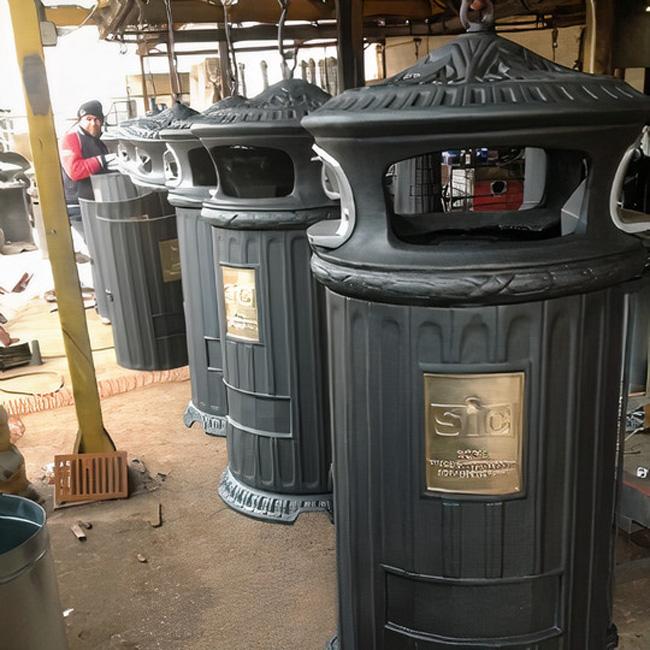 Grey cast iron litter bin