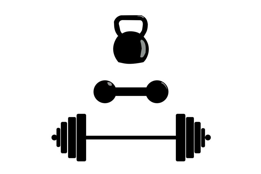 Different barbell dumbbell kettlebell