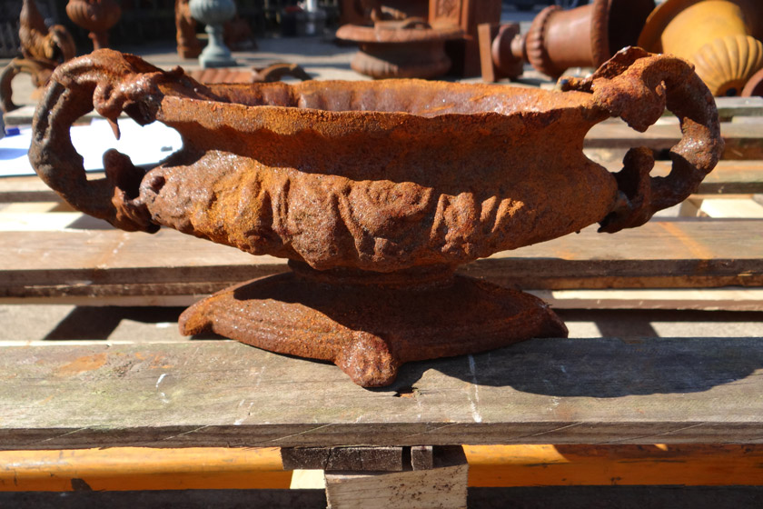 Beauty of cast iron patina urn planter